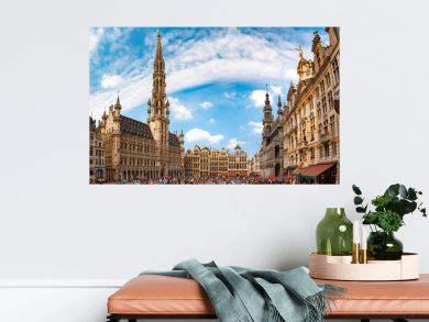 Grand Place Square with Brussels City Hall in Brussels, Belgium