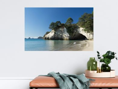 Sunny day around Cathedral Cove in Coromandel, New Zealand