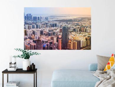 Panoramic sunset city skyline. Abu Dhabi