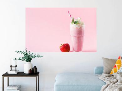 Strawberry milkshake or smoothie and fresh raw berries
