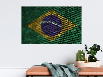 Brazil flag  is depicted on the screen with the program code. The concept of modern technology and site development