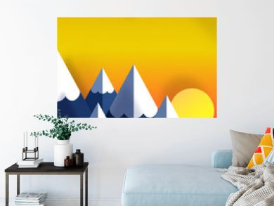 Paper art origami, landscape of mountains.