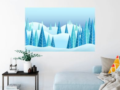 Vector winter horizontal landscape with snow capped hills and triangle coniferous trees. Cartoon illustration
