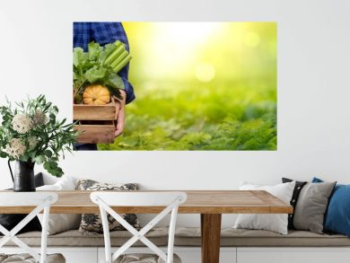 Hands holding wooden box with vegetables