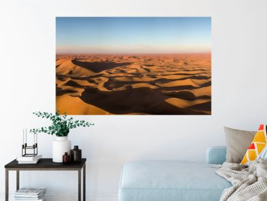 Aerial panorama in Sahara desert at sunrise