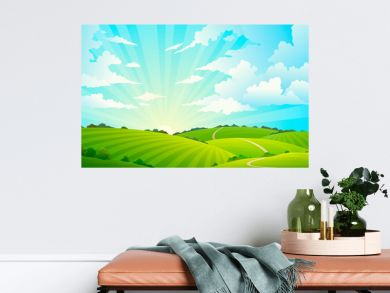Fields landscape. Scenic green hills nature sky horizon meadow grass field rural land agriculture grassland