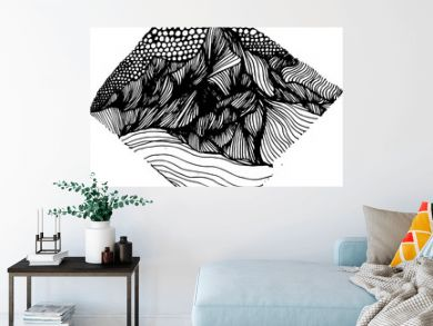 Psychedellic illustration with mountains drawn by lines and sky drawn by circles. An idea for a tattoo.