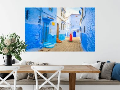 Blue street of medina in Chefchaouen, Morocco