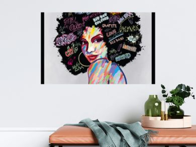 portrait of an afro american woman face