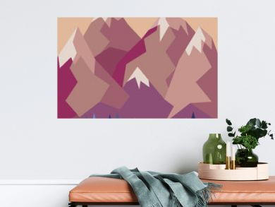 Mountains with a small lake and trees in geometric style