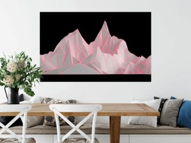 Polygon image of mountain peaks with a glowing backlit 3D illustration