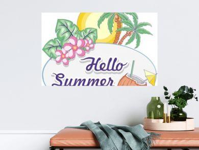 Hello Summer Tropical Oval Framed Label Vector Logo Design Pastel Colors