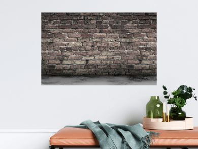 Large Grungy Blank Old Brick Wall And Concrete Floor Banner with Copy Space