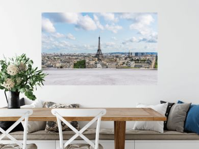 Eiffel tower, famous landmark and travel destination in France, Pariswith empty concrete terrace