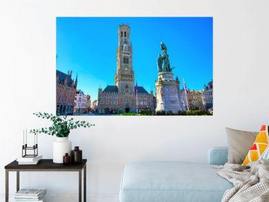 The Belfry of Bruges located in the Market Square of Bruges (Brugge), Belguim.