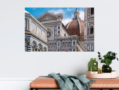Florence Duomo, Italy. Santa Maria del Fiore cathedral (Basilica of Saint Mary of the Flower). City in the day