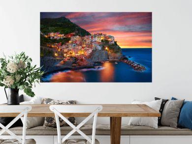 Famous city of Manarola in Italy - Cinque Terre, Liguria