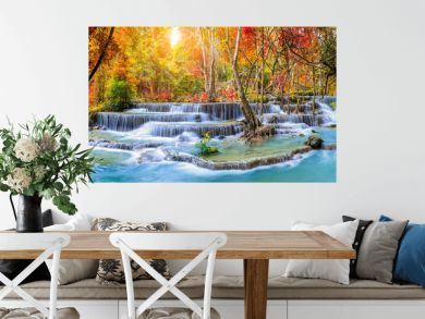 Colorful majestic waterfall in national park forest during autumn, panorama - Image