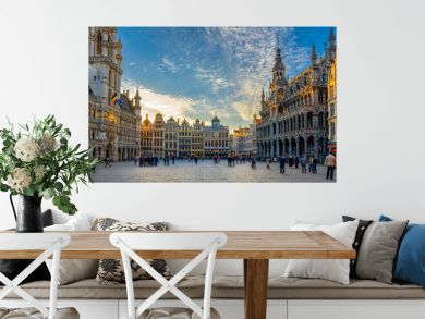 Grand Place (Grote Markt) with Town Hall (Hotel de Ville) and Maison du Roi (King's House or Breadhouse) in Brussels, Belgium. Grand Place is important tourist destination in Brussels.