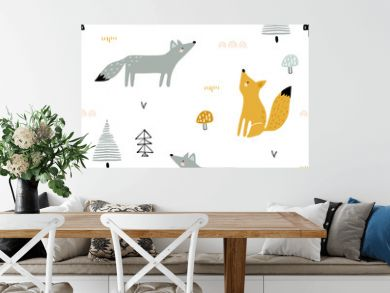 Seamless forest pattern with foxes, trees, mushrooms. Creative minimalistic kids for fabric, wrapping, textile, wallpaper, apparel. Vector illustration
