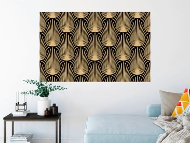 Art deco seamless pattern design - gold abstract shapes on black background
