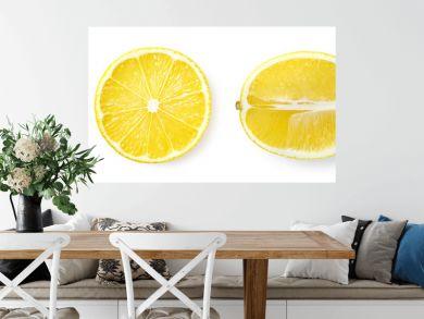 Fresh whole, half and sliced lemon