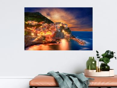 Famous city of Manarola in Italy - Cinque Terre, Liguria