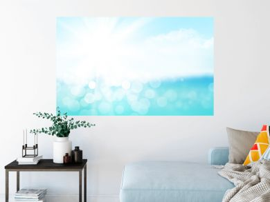 Summer tropical sea with sparkling waves and blue sunny sky