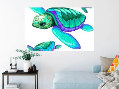 Sea Turtles Dance Oceanlife Vector Illustration