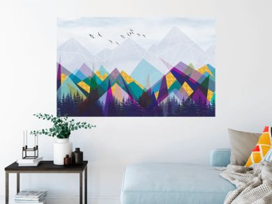 Geometric landscape, multi-colored polygonal mountains, spruce forest, flock of birds in the sky