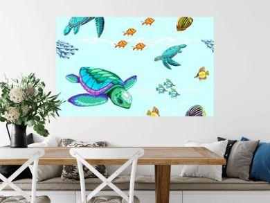Sea Turtles Dance Oceanlife Vector Seamless Repeat Pattern