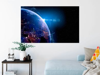 Communication technology for internet business. Global world network and telecommunication on earth and IoT. Elements of this image furnished by NASA
