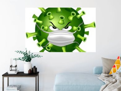 Coronavirus Evil Virus Cartoon Character with Face Mask against Covid-19 Vector illustration isolated on white.
