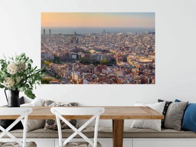 Barcelona Spain, high angle view panorama city skyline sunrise from Bunkers del Carmel