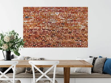 Panoramic rugged old red brown bricks wall. texture background