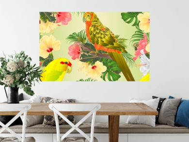 Seamless texture birds Sun Conure Parrot and Indian Ringneck Parrot in Yellow on branch with tropical flowers hibiscus, palm,philodendron watercolor  vintage vector illustration editable Hand draw