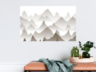 Winter landscape. Flat template design. Winter mountains.Mountains in the fog in the forest, the background of the mountains in the morning landscape.