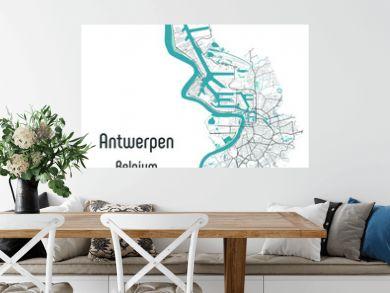 Antwerpen (Antwerp), Belgium map — rivers, water, roads and highways on white background