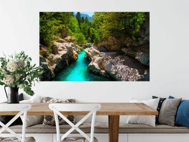 Emerald color Soca river with beautiful narrow canyon, Bovec, Slovenia