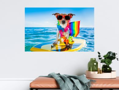 gay pride surfer dog  at the ocean