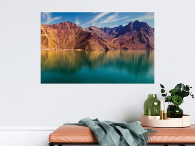 colourful, warm mountains reflected in the lake