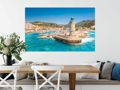 Panoramic view of the fishing village of Cassis near Marseille, Provence, South France, Europe, Mediterranean sea