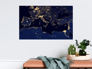 earth at night, view of city lights in Europe and north africa region arround  Mediterranean Sea from space. Elements of this image furnished by NASA.