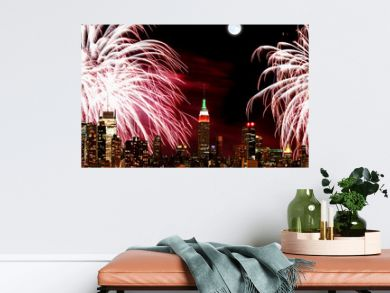 The New York City skyline and fireworks