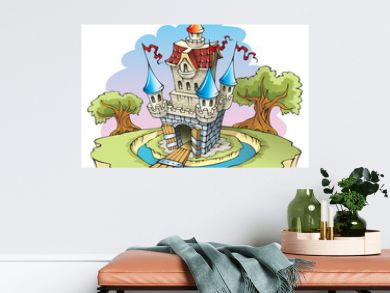 Cartoon fantasy castle, surrounded by water moat, vector