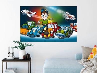 Transportation - Cartoon Background Illustration