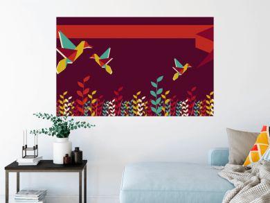 Origami hummingbird group banner