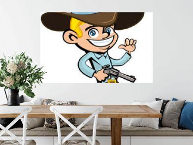 Cartoon cowboy with sixguns