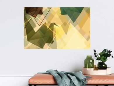 Origami paper birds geometric retro background.