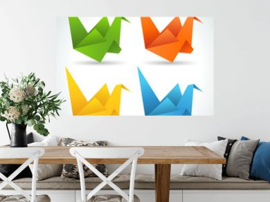 Origami paper birds collection.